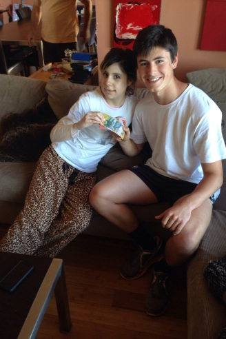 Paige after jaw surgery and cousin Mathew