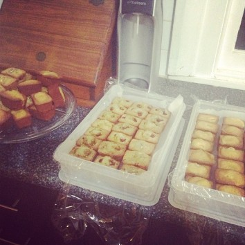 6 batches of friands ready for the freezer.
