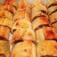 home made sausage rolls ready fro the freezer.